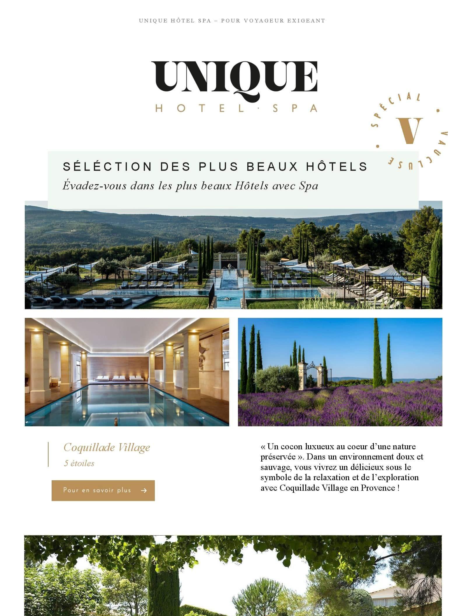 Newsletter Unique Hôtel Spa Vaucluse